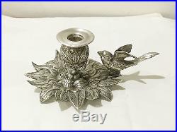 Ancien Bougeoir Art Nouveau Argent Massif Poinçonné Candlestick Solid Silver TBE
