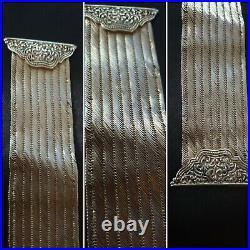 Ancien Bracelet Manchette joliment Décoré style Art Nouveau en Argent Massif