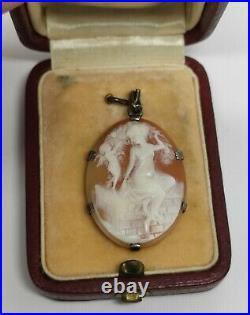 Ancien Camée Art Nouveau Argent Vermeil lady angel Vintage Cameo carved shell