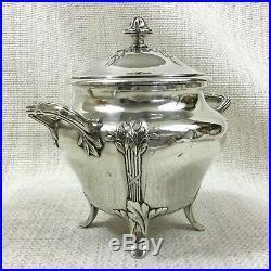 Ancien Christofle Plaqué Argent Sucre Bol Pot Gallia Original Art Nouveau