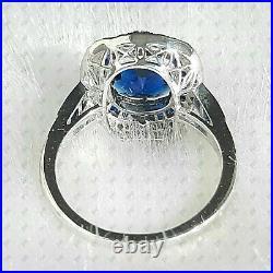Ancien Coupe Coussin Saphir Bleu Art Déco Fiançailles Bague En 925 Argent
