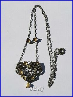 Ancien Joli Collier Art Nouveau En Argent Superbe