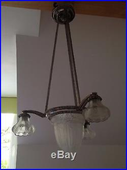 Douille Pour Lustre Ancien : ancien lustre muller m tal argent art nouveau lampe applique plafonnier d co art nouveau argent ~ Nature-et-papiers.com Idées de Décoration