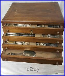 ancien menagere 137 piece metal argente 1900 s orfevre s f 4 stars meuble bois o art nouveau. Black Bedroom Furniture Sets. Home Design Ideas