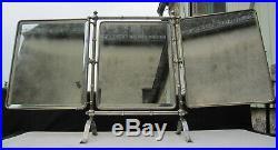 Ancien Miroir Triptyque Sur Pied Barbier Coiffeur Art Nouveau Metal Argente 1900