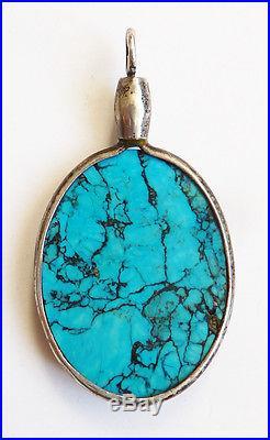 Ancien Pendentif argent massif + turquoise naturelle Bijou ART NOUVEAU 1900