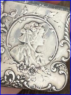 Ancien Pyrogene Box Boite A Alumette Argent Massif Art Nouveau Femme Au Chapeau