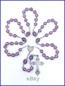 Ancien chapelet argent massif et perles couleur améthyste Art Nouveau (2)