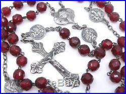 Ancien chapelet en argent massif et perles couleur rouge grenats Art Nouveau