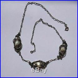 Ancien collier argent art nouveau déco signé Paul Dumont nénuphars perles miault