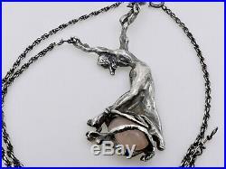 Ancien collier argent massif d'époque art nouveau Danseuse Quartz de 10 cm