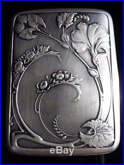 Ancien étui boîte à cigarettes Argent Art Nouveau Art Floral Jungenstil