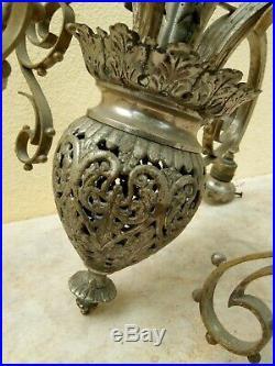 Ancien lustre en bronze argenté du début XX ème