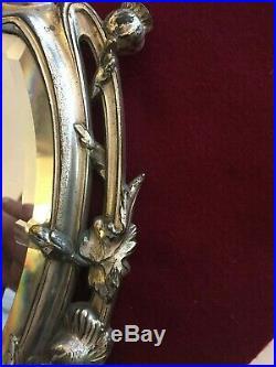 Ancien miroir psyché art nouveau bronze argenté