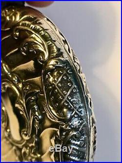 Ancien pendentif médaillon en argent massif art nouveau