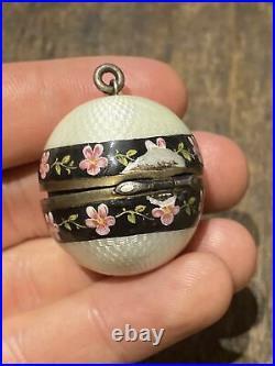 Ancien pendentif oeuf Fabergé 1900 art nouveau porte photo Émaillé Argent Silver