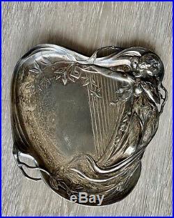 Ancien plat en métal argenté signé WMF style Jugendstil art nouveau 1890 1919
