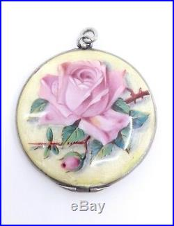 Ancien porte photo pendentif en argent massif emaillé fleur rose Art Nouveau