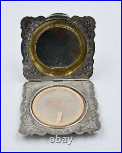 Ancien poudrier en argent 800 décor de style 1900 Art Nouveau