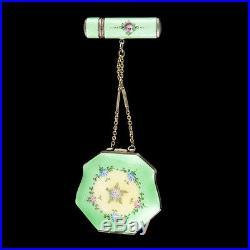 Ancien poudrier et étui a rouge a lèvre metal argenté émaillé Art Nouveau 1900