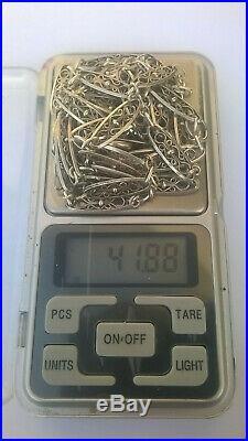Ancien sautoir en argent massif art nouveau filigrane 142cm 42grs