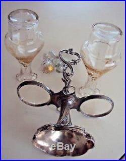 Ancien serviteur huilier vinaigrier art nouveau en métal argenté