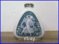 Ancien vase en porcelaine art nouveau signé Joé Descomps monture argent massif