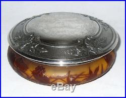 Ancienne Boite Pâte De Verre Signé Gallé Décor Art Nouveau Monture Metal Argenté