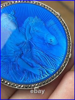 Ancienne Broche Argent Massif Art Nouveau Femme Cheval Emaux Emaillé Marcassite