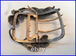 Ancienne Grande Boucle De Ceinture Art Nouveau Bronze Argente Buckle