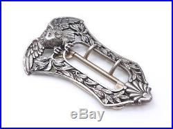 Ancienne boucle de ceinture en argent massif époque Art Nouveau 1900 Aigle