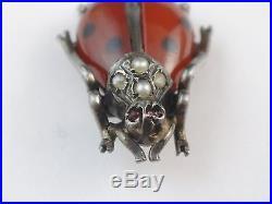 Ancienne coccinelle bijou miniature en argent massif opaline Art Nouveau