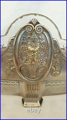 Ancienne jardinière, Art Nouveau, cristal et métal argenté ou étain