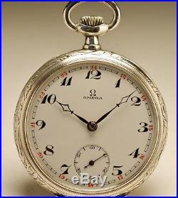 Ancienne montre gousset OMEGA en ARGENT. 1910 ART NOUVEAU SILVER pocket watch