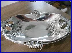 Ancienne paire de coupes Gallia art nouveau en métal argenté