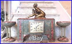 Ancienne pendule bronze dore argente onyx Geo Maxim art nouveau