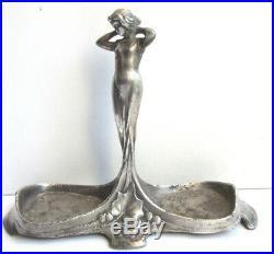 Ancienne salière Art Nouveau Jugendstil métal argenté, sculpture Femme et houx