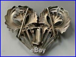 Ancienne superbe boucle de ceinture Art Nouveau bronze argenté, buckle antique