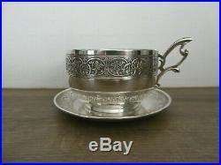 Ancienne tasse à chocolat en argent massif minerve art nouveau