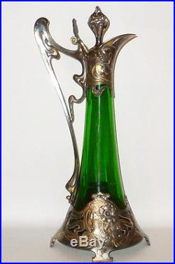 Antique Argenté WMF Art Nouveau Carafe Style vert Glas Cruche Krug (Cruche)
