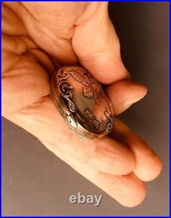 Antique silver Art Nouveau mirror slide pendant / pendentif miroir argent