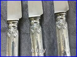 Argent Massif Art Nouveau Boulenger Chardons 6 Couteaux Dessert Fruits Lames
