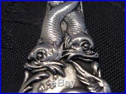 Argent Massif Pelle De Service Decor De Triton Et Dragon Art Nouveau