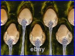 Argent Massif Vermeil 12 Cuilleres The Dessert Poincon Minerve Art Nouveau
