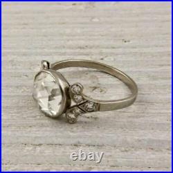 Art Déco 2.50ct Diamant Rond 925 Argent Fiançailles Vintage Ancien Bague