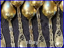 Art Nouveau 11 Cuilleres A Dessert Argent Massif Vermeil