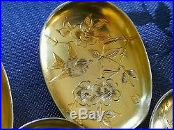 Art Nouveau 1897 12 Pelles A Glace Vermeil Argent Massif Decor Oiseau Papillon