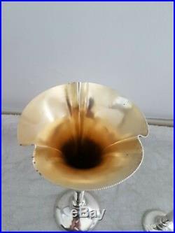 Art Nouveau, 2 Vases Tulipe, Col Évasé, Argent Sterling Vermeil, Poinçons d'Orfèvre