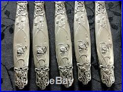Art Nouveau 6 Fourchettes A Huitre Et Escargot Metal Argente 12 Pieces