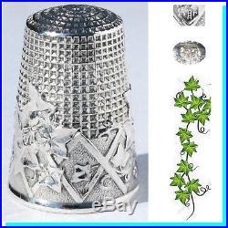 Art Nouveau ARGENT ancien dé à coudre Antique sewing silver Thimble ivy bijou